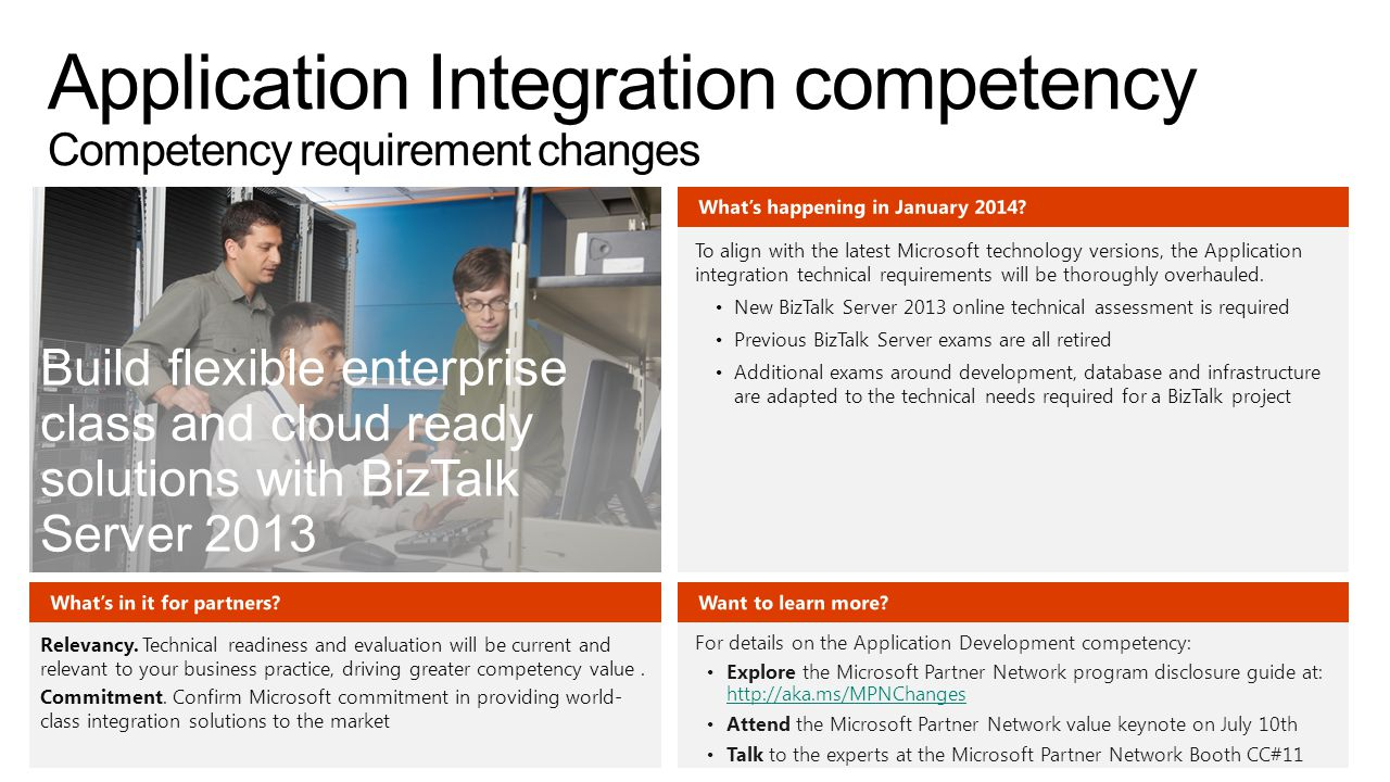 Build flexible enterprise class and cloud ready solutions with BizTalk Server 2013 To align with the latest Microsoft technology versions, the Applica