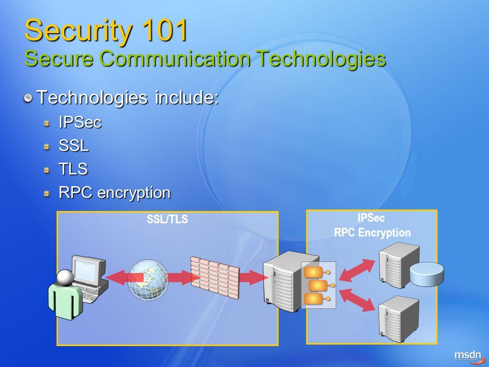 Technologies include: IPSecSSLTLS RPC encryption SSL/TLS IPSec RPC Encryption Security 101 Secure Communication Technologies
