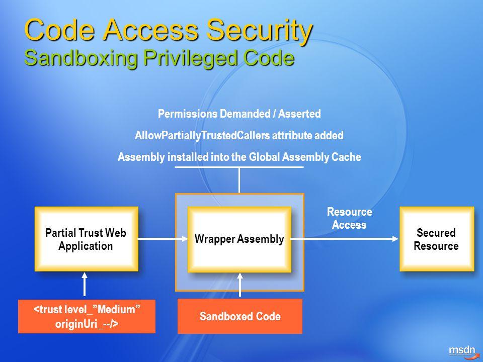 "Partial Trust Web Application Wrapper Assembly Secured Resource Sandboxed Code <trust level_""Medium"" originUri_--/> Permissions Demanded / Asserted Al"