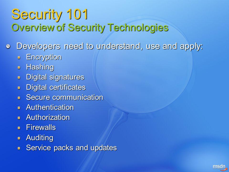 Developers need to understand, use and apply: EncryptionHashing Digital signatures Digital certificates Secure communication AuthenticationAuthorizati