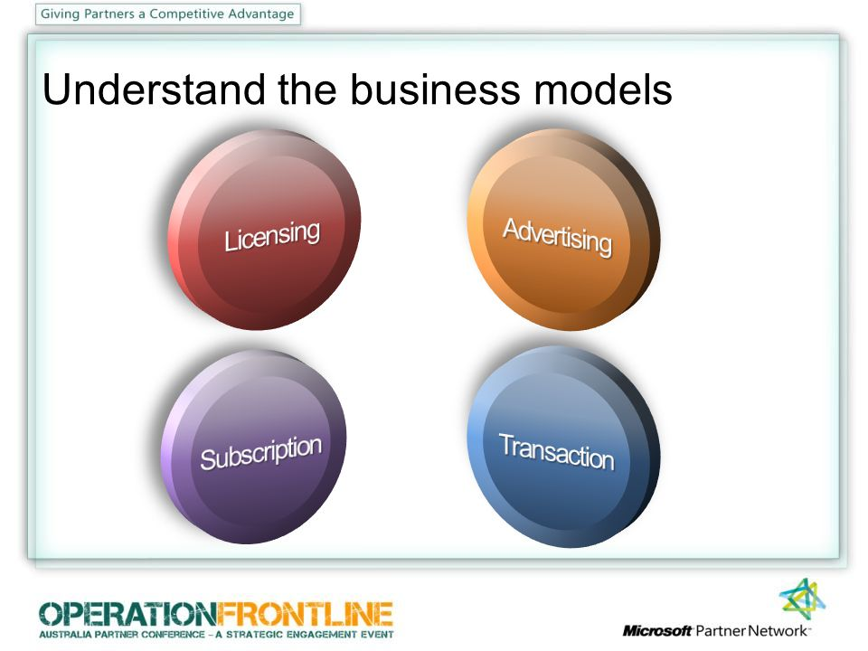 Understand the business models