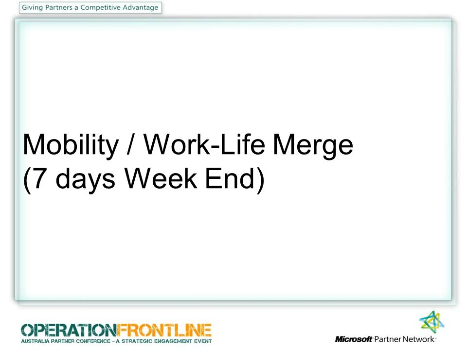 Mobility / Work-Life Merge (7 days Week End)