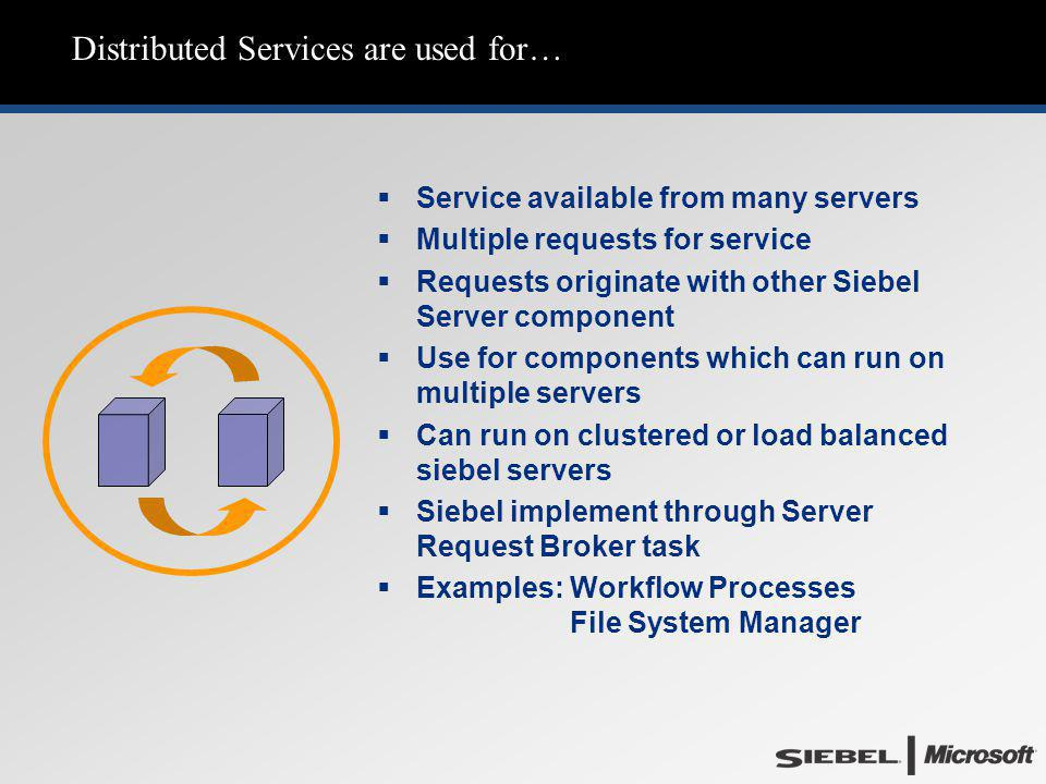 Distributed Services are used for…   Service available from many servers   Multiple requests for service   Requests originate with other Siebel