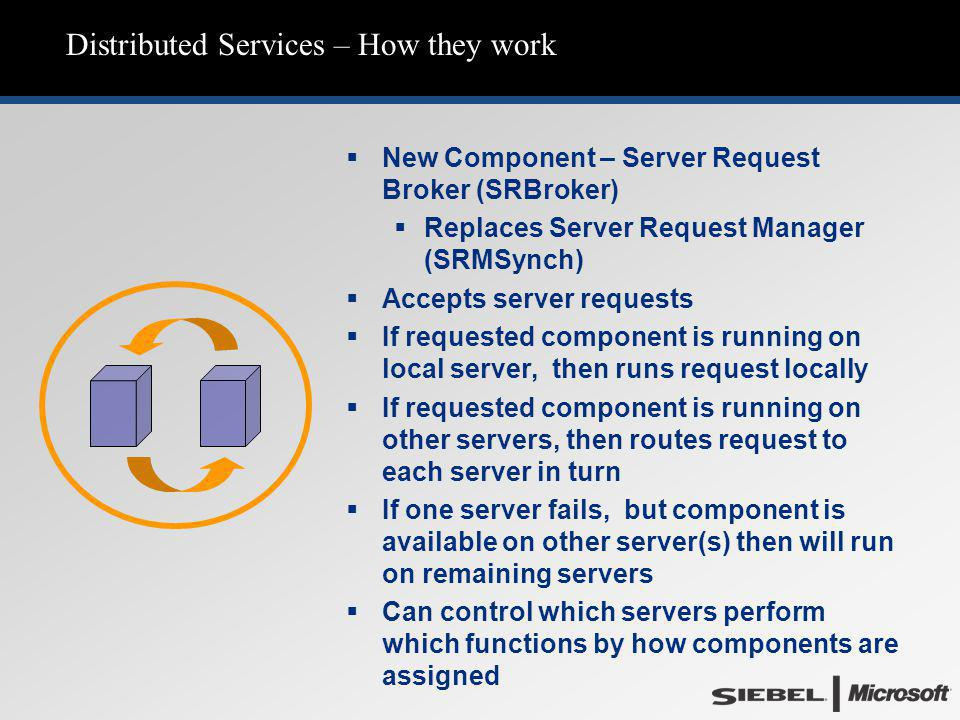 Distributed Services – How they work   New Component – Server Request Broker (SRBroker)   Replaces Server Request Manager (SRMSynch)   Accepts server requests   If requested component is running on local server, then runs request locally   If requested component is running on other servers, then routes request to each server in turn   If one server fails, but component is available on other server(s) then will run on remaining servers   Can control which servers perform which functions by how components are assigned