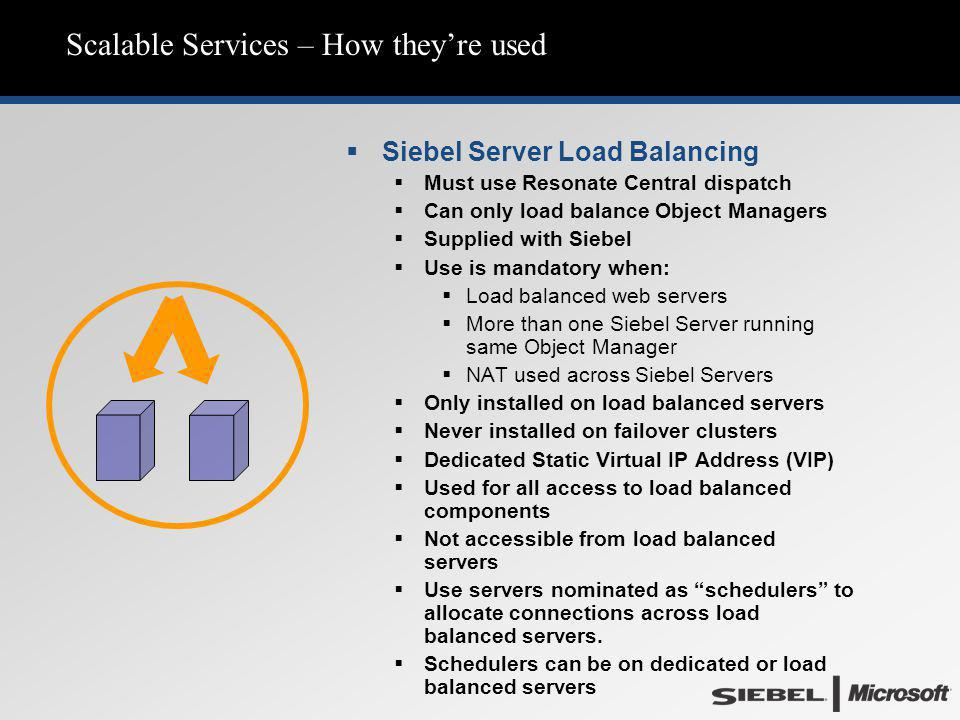 Scalable Services – How they're used  Siebel Server Load Balancing  Must use Resonate Central dispatch  Can only load balance Object Managers  Sup