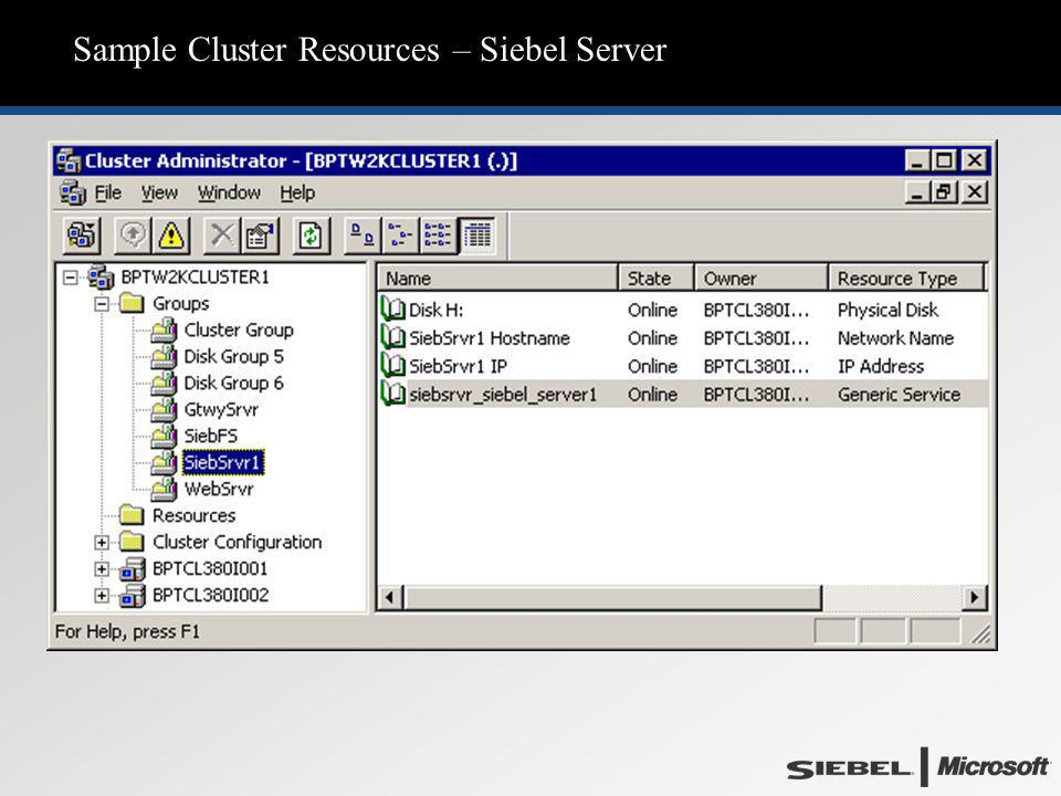 Sample Cluster Resources – Siebel Server