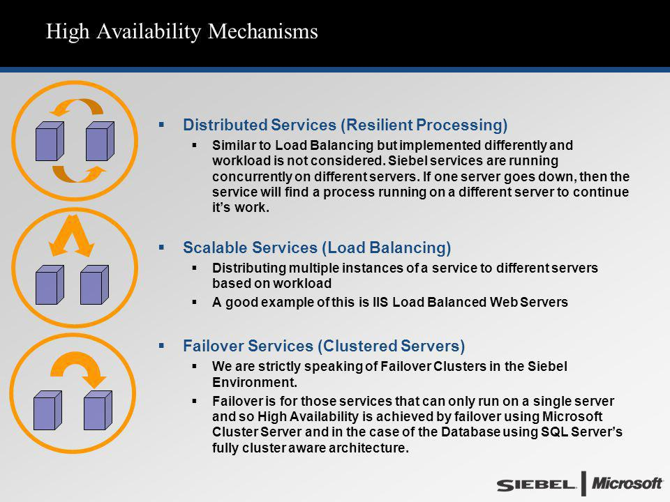 High Availability Mechanisms  Distributed Services (Resilient Processing)  Similar to Load Balancing but implemented differently and workload is not
