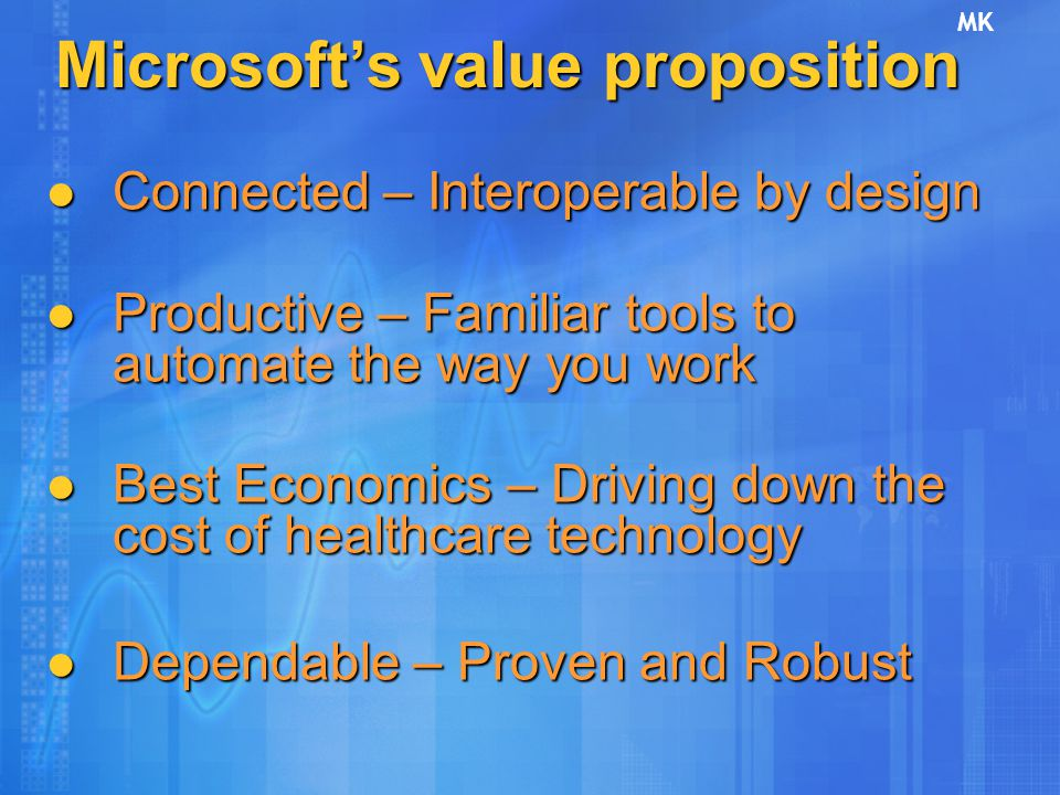 Microsoft's value proposition Connected – Interoperable by design Connected – Interoperable by design Productive – Familiar tools to automate the way you work Productive – Familiar tools to automate the way you work Best Economics – Driving down the cost of healthcare technology Best Economics – Driving down the cost of healthcare technology Dependable – Proven and Robust Dependable – Proven and Robust MK