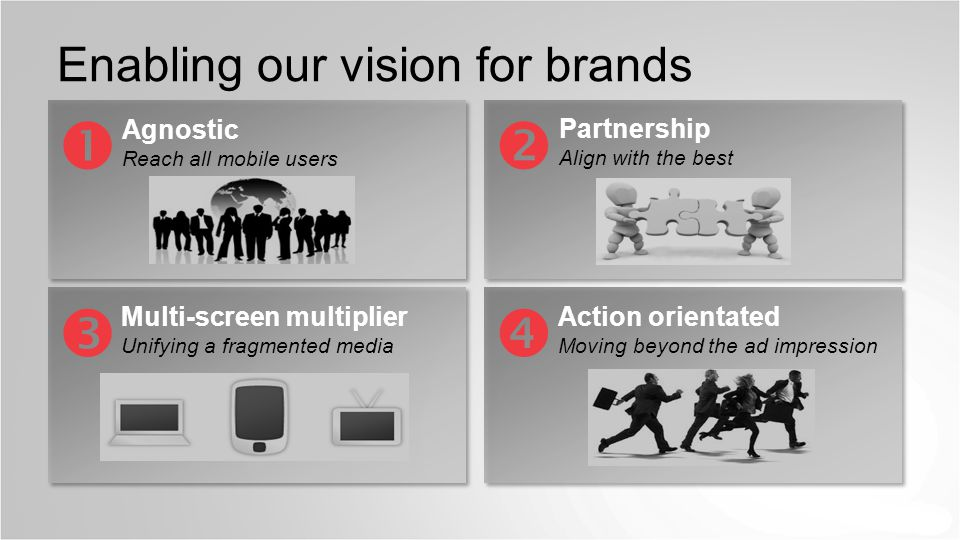 BG Enabling our vision for brands Agnostic Reach all mobile users Multi-screen multiplier Unifying a fragmented media Action orientated Moving beyond the ad impression Partnership Align with the best   