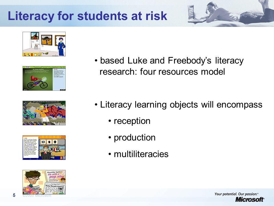 ©2005 Microsoft 5 Literacy for students at risk based Luke and Freebody's literacy research: four resources model Literacy learning objects will encompass reception production multiliteracies