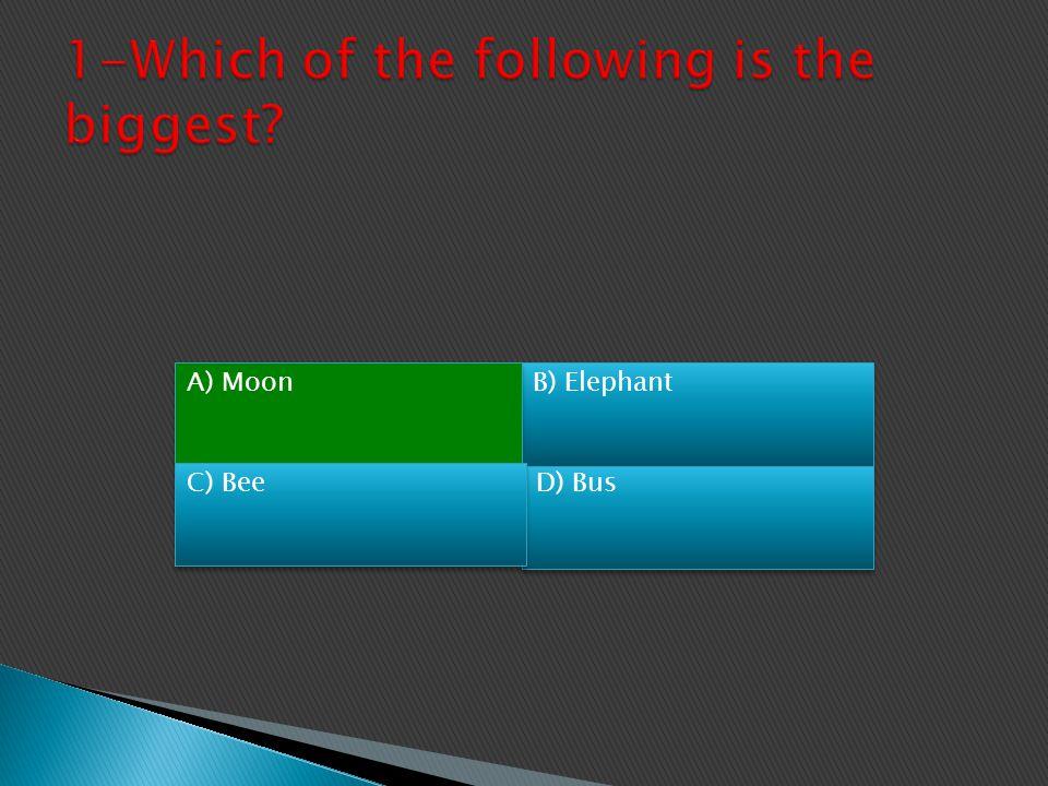 A) MoonB) Elephant C) BeeD) Bus