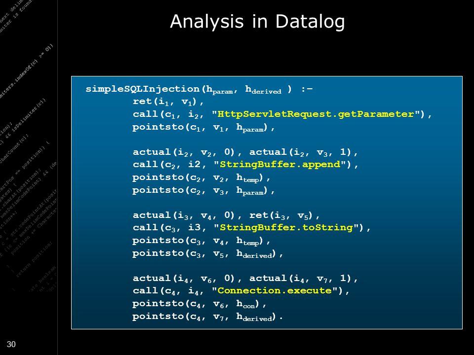 30 Analysis in Datalog simpleSQLInjection(h param, h derived ) :– ret(i 1, v 1 ), call(c 1, i 2,