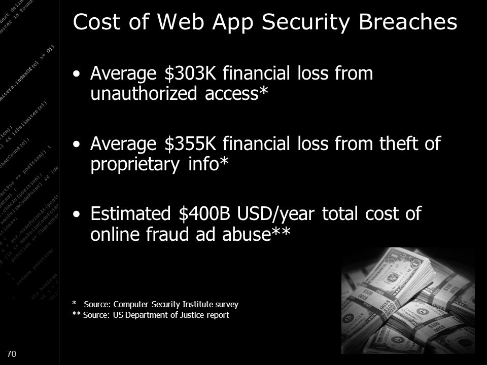 70 Cost of Web App Security Breaches Average $303K financial loss from unauthorized access* Average $355K financial loss from theft of proprietary info* Estimated $400B USD/year total cost of online fraud ad abuse** * Source: Computer Security Institute survey ** Source: US Department of Justice report