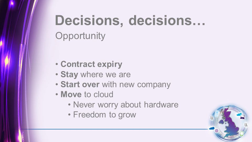 Opportunity Decisions, decisions… Contract expiry Stay where we are Start over with new company Move to cloud Never worry about hardware Freedom to grow