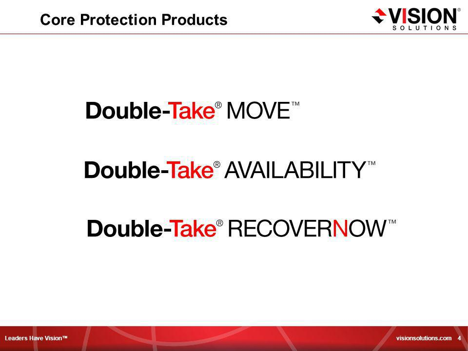 Leaders Have Vision™ visionsolutions.com 5 The Double-Take Replication Engine Byte Level – Differences Only Real-Time or Scheduled/Throttled 3 Levels of Compression Control over RAM/Disk usage