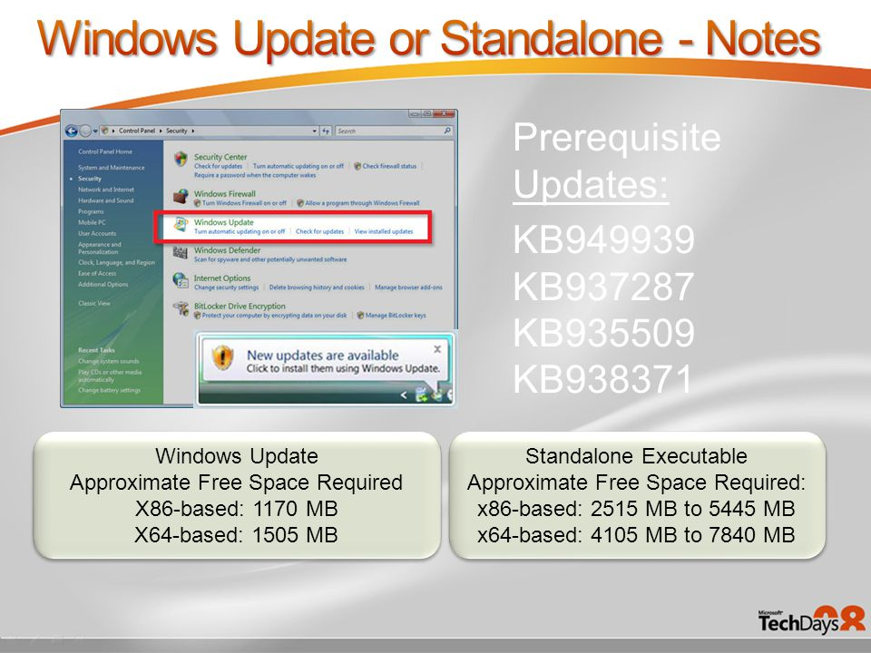 KB949939 KB937287 KB935509 KB938371 Prerequisite Updates: Windows Update Approximate Free Space Required X86-based: 1170 MB X64-based: 1505 MB Windows Update Approximate Free Space Required X86-based: 1170 MB X64-based: 1505 MB Standalone Executable Approximate Free Space Required: x86-based: 2515 MB to 5445 MB x64-based: 4105 MB to 7840 MB Standalone Executable Approximate Free Space Required: x86-based: 2515 MB to 5445 MB x64-based: 4105 MB to 7840 MB
