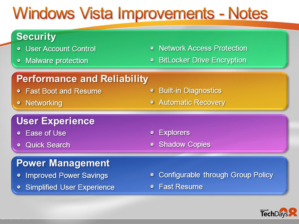 Power Management Improved Power Savings Simplified User Experience Configurable through Group Policy Fast Resume Power Management Improved Power Savings Simplified User Experience Configurable through Group Policy Fast Resume Performance and Reliability Fast Boot and Resume Networking Built-in Diagnostics Automatic Recovery Performance and Reliability Fast Boot and Resume Networking Built-in Diagnostics Automatic Recovery Security User Account Control Malware protection Network Access Protection BitLocker Drive Encryption Security User Account Control Malware protection Network Access Protection BitLocker Drive Encryption User Experience Ease of Use Quick Search Explorers Shadow Copies User Experience Ease of Use Quick Search Explorers Shadow Copies