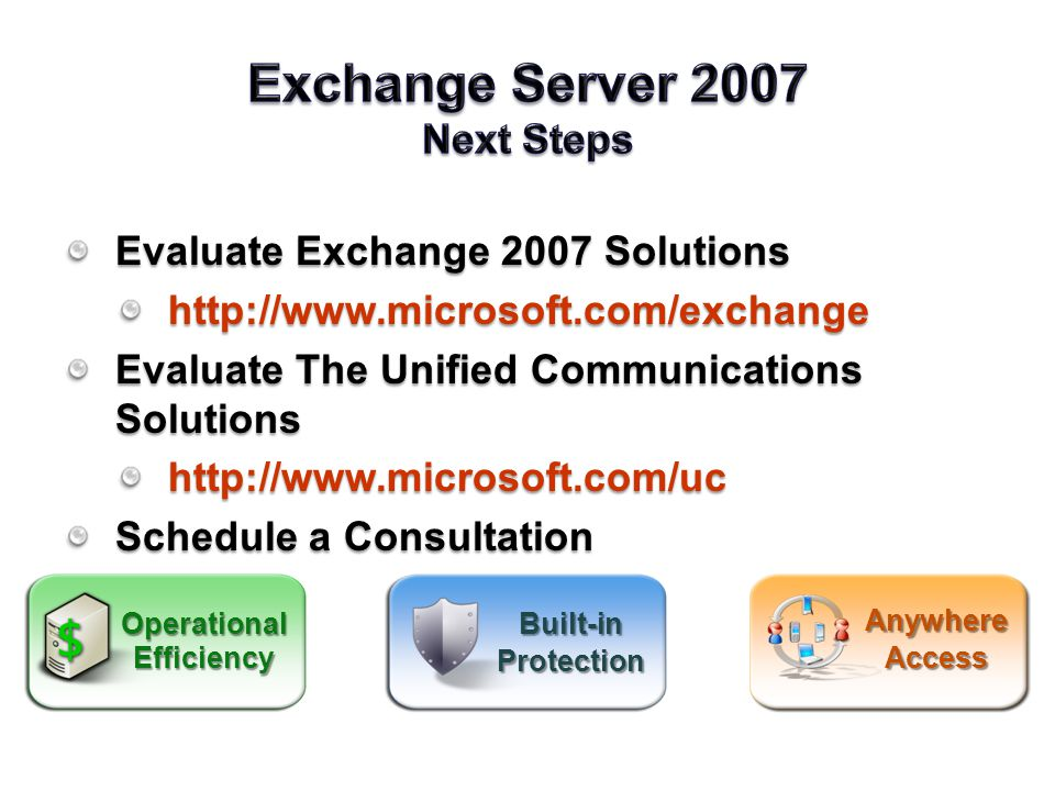 Evaluate Exchange 2007 Solutions   Evaluate The Unified Communications Solutions   Schedule a Consultation Built-inProtection AnywhereAccess OperationalEfficiency