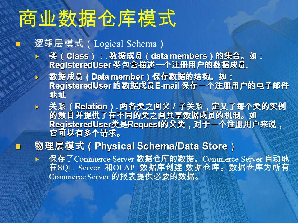 商业数据仓库模式 逻辑层模式( Logical Schema )  类( Class ):.