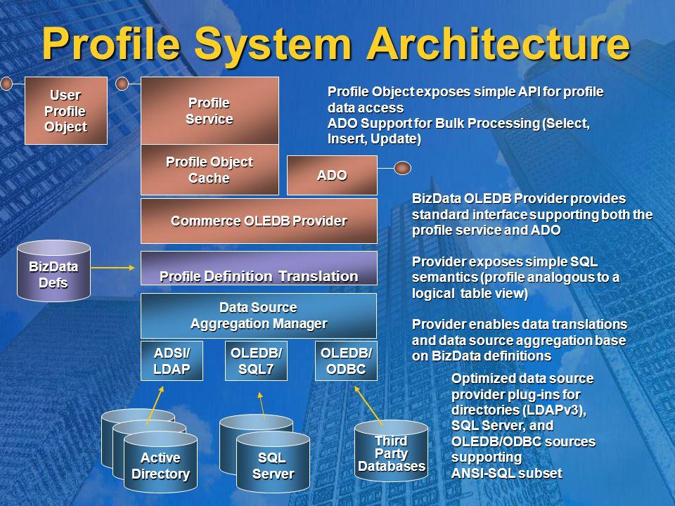 UserProfileObject Commerce OLEDB Provider ProfileService Profile Object Cache ADO Profile Definition Translation BizDataDefs Data Source Aggregation Manager ADSI/LDAPOLEDB/SQL7OLEDB/ODBC LDAPDS LDAPDS ActiveDirectory LDAPDS SQL Server ThirdPartyDatabases Profile Object exposes simple API for profile data access ADO Support for Bulk Processing (Select, Insert, Update) BizData OLEDB Provider provides standard interface supporting both the profile service and ADO Provider exposes simple SQL semantics (profile analogous to a logical table view) Provider enables data translations and data source aggregation base on BizData definitions Optimized data source provider plug-ins for directories (LDAPv3), SQL Server, and OLEDB/ODBC sources supporting ANSI-SQL subset Profile System Architecture