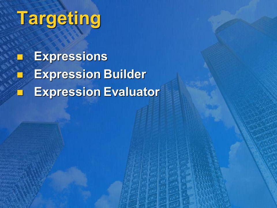 Targeting Expressions Expressions Expression Builder Expression Builder Expression Evaluator Expression Evaluator