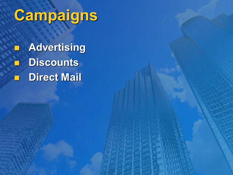 Campaigns Advertising Advertising Discounts Discounts Direct Mail Direct Mail