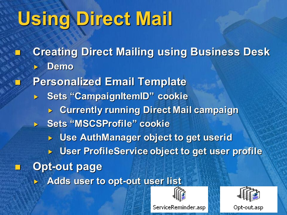 Using Direct Mail Creating Direct Mailing using Business Desk Creating Direct Mailing using Business Desk  Demo Personalized Email Template Personali