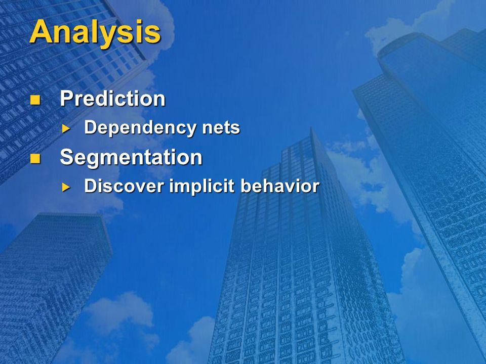 Analysis Prediction Prediction  Dependency nets Segmentation Segmentation  Discover implicit behavior