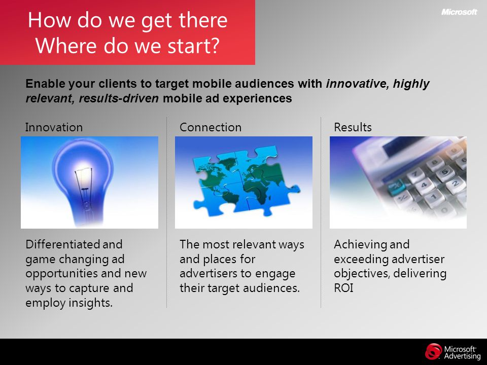 How do we get there Where do we start? Connection The most relevant ways and places for advertisers to engage their target audiences. Results Achievin