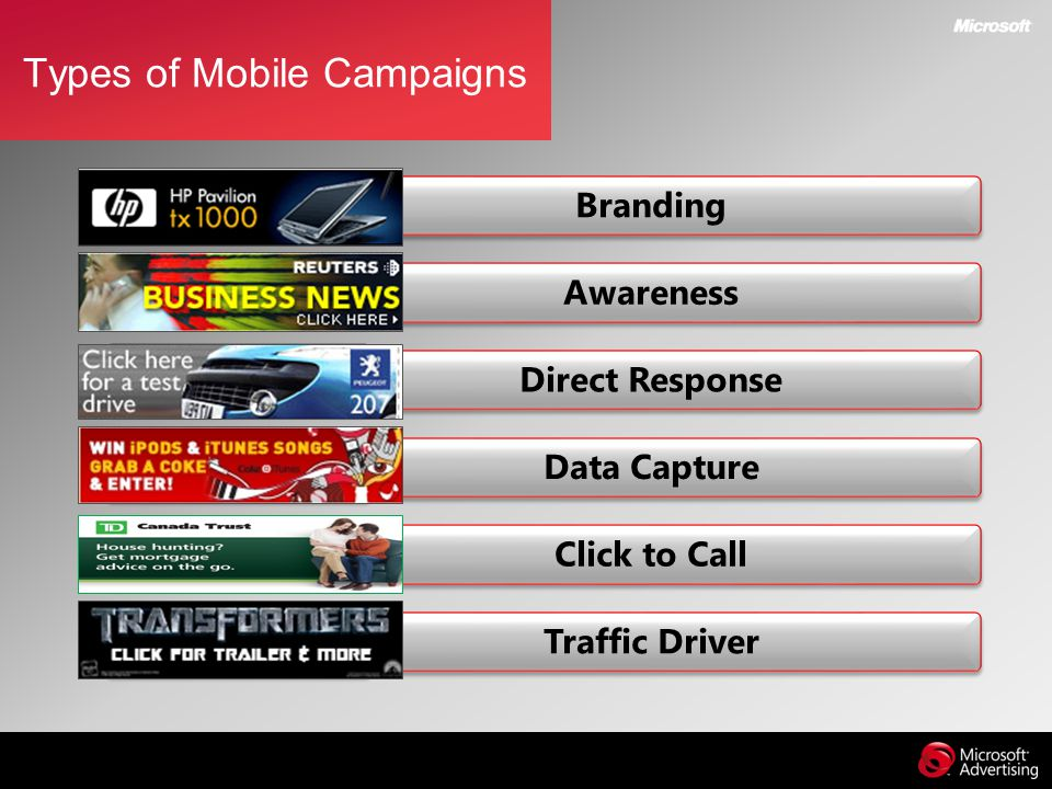 Types of Mobile Campaigns Branding Awareness Direct Response Data Capture Click to Call Traffic Driver
