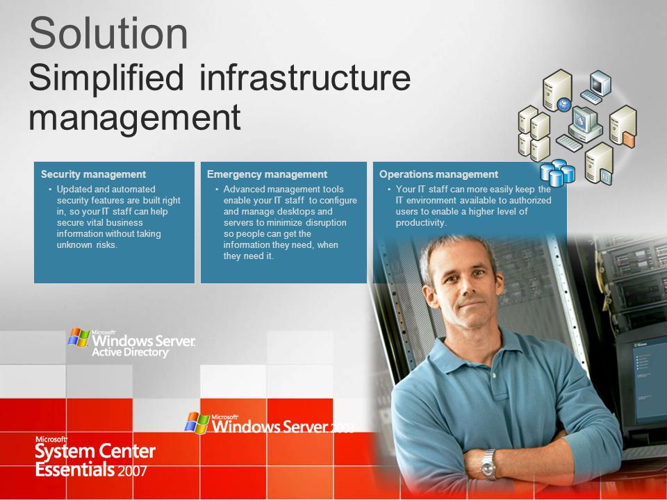 Solution Simplified infrastructure management Security management Updated and automated security features are built right in, so your IT staff can hel