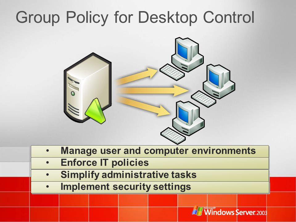 Group Policy for Desktop Control Manage user and computer environments Enforce IT policies Simplify administrative tasks Implement security settings