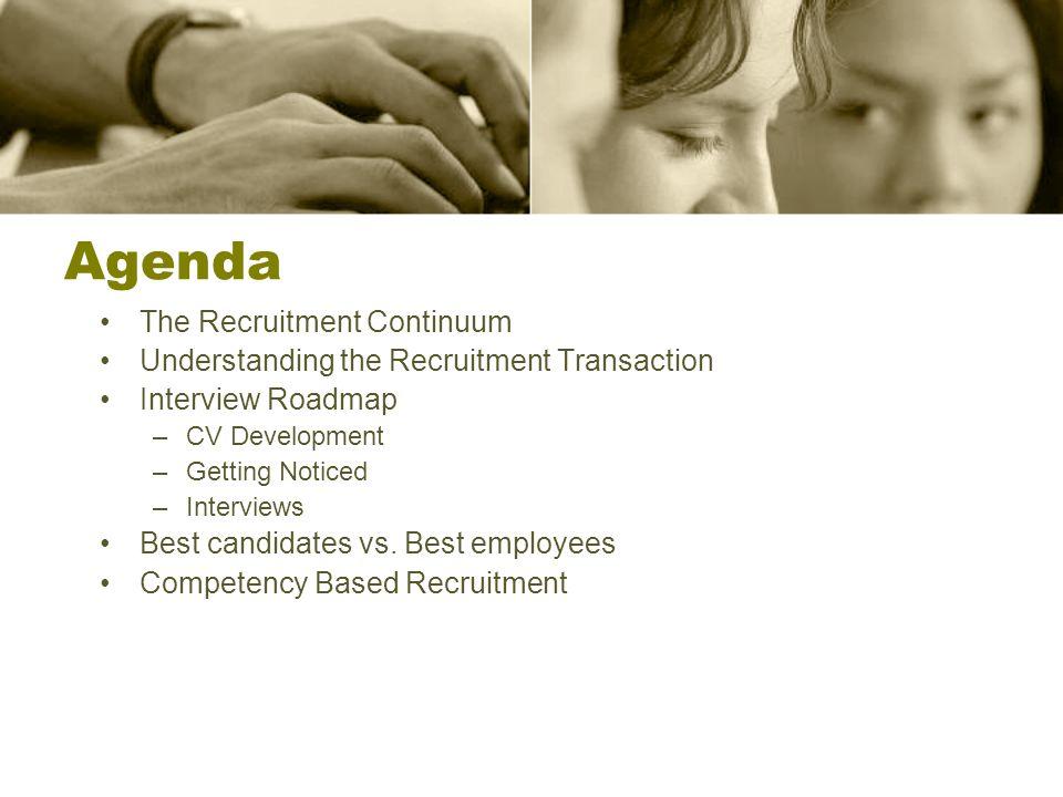 Agenda The Recruitment Continuum Understanding the Recruitment Transaction Interview Roadmap –CV Development –Getting Noticed –Interviews Best candida
