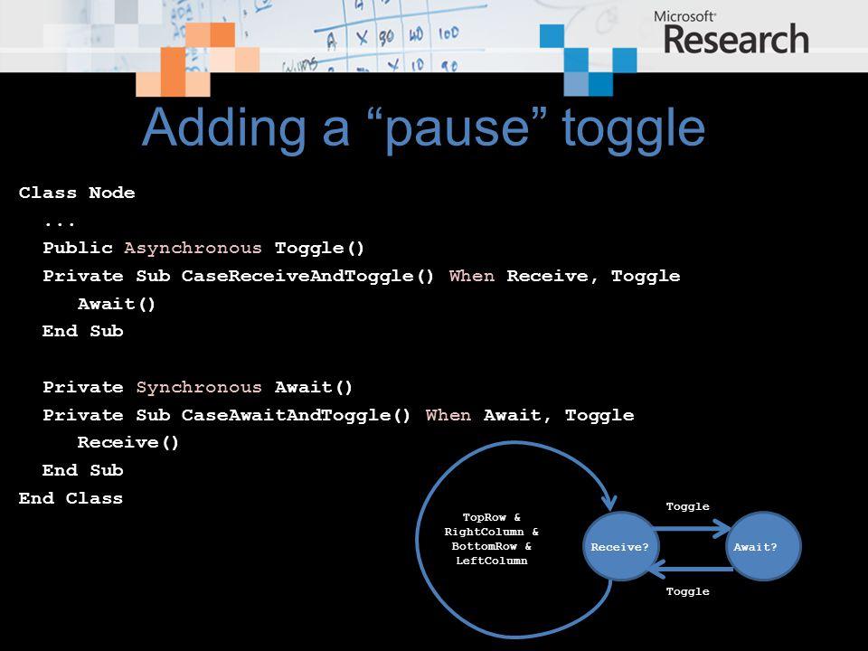 Adding a pause toggle Class Node...