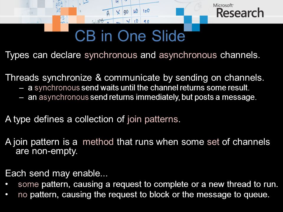 CB in One Slide Types can declare synchronous and asynchronous channels.