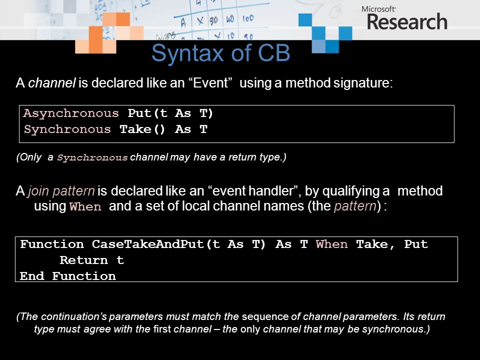 """A channel is declared like an """"Event"""" using a method signature: (Only a Synchronous channel may have a return type.) A join pattern is declared like a"""