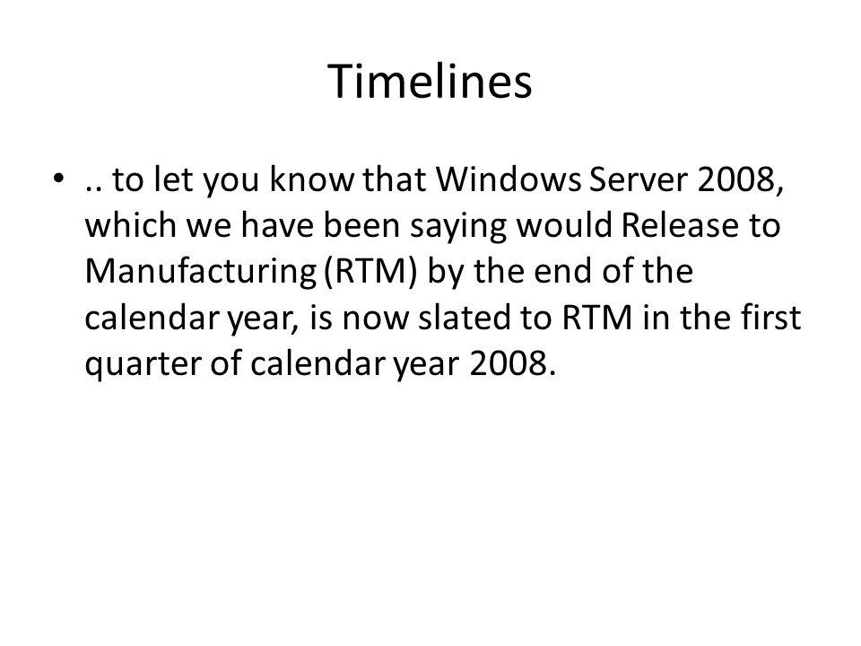Timelines..