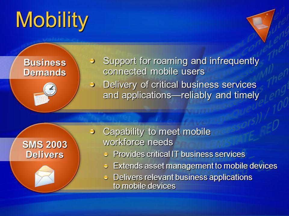 Mobility – Features Infrequently connected users Only transmit necessary data to remote devices Use proven standards and proven technologies HTTP bandwidth aware communications XML based schema Leverages the experience and technologies from Windows Update 200 million downloads/month to mobile users Roaming users Access data from the closest source Use proven installer technologies MSI Leverage existing infrastructure Active Directory