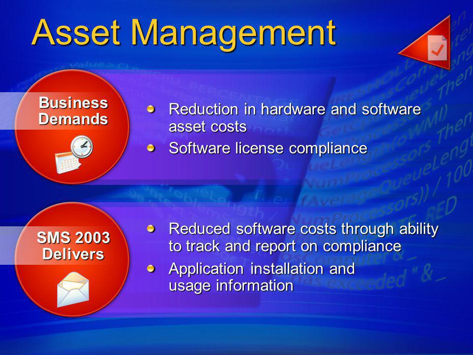 Integration with Active Directory allows asset targeting based on business process Allows for a granular and flexible inventory discovery process Provides an integrated way to Determine application installation Track application usage Simplicity in asset tracking through integrated metering and inventory Asset Management – Features