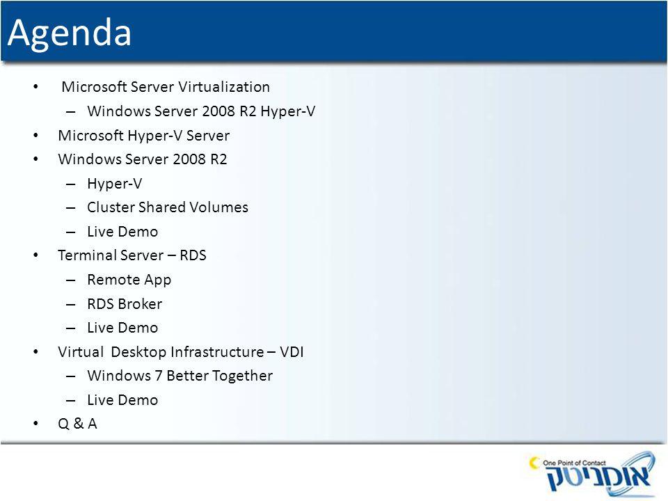 Agenda Microsoft Server Virtualization – Windows Server 2008 R2 Hyper-V Microsoft Hyper-V Server Windows Server 2008 R2 – Hyper-V – Cluster Shared Vol