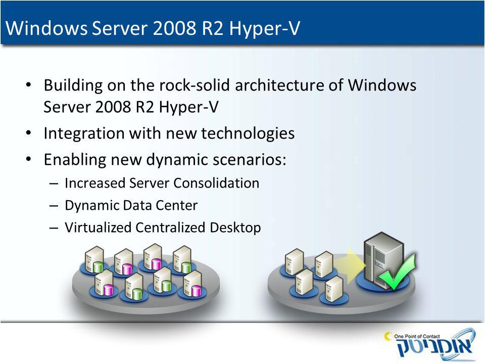 Windows Server 2008 R2 Hyper-V Building on the rock-solid architecture of Windows Server 2008 R2 Hyper-V Integration with new technologies Enabling ne