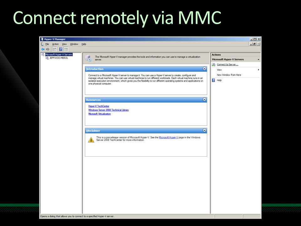 Connect remotely via MMC