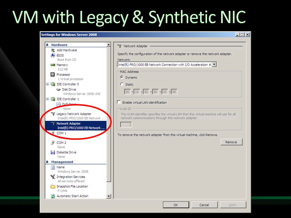 VM with Legacy & Synthetic NIC