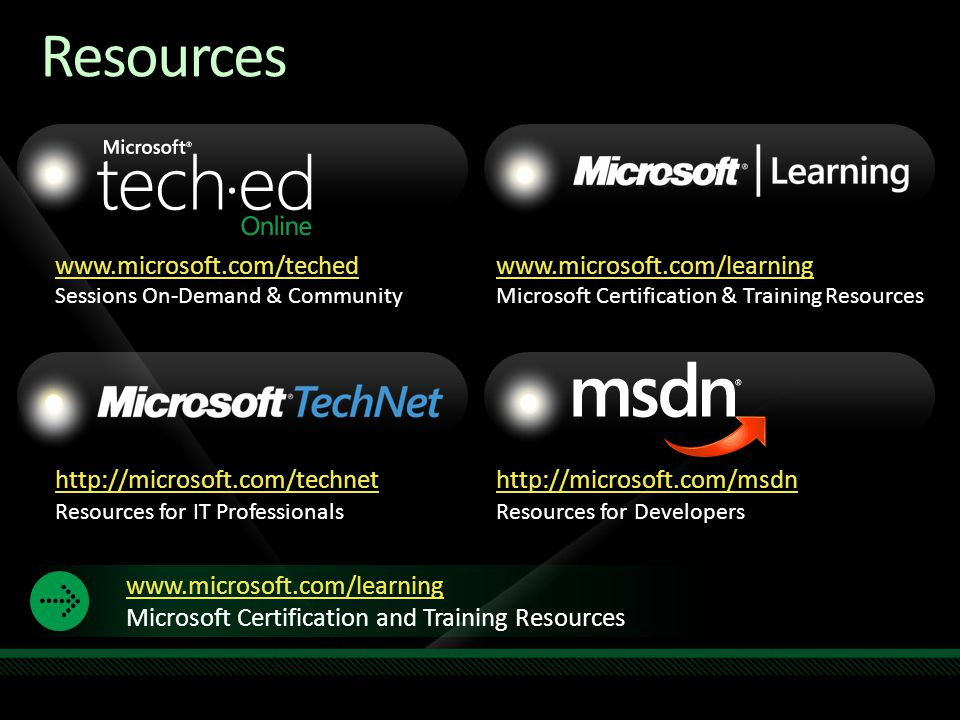 www.microsoft.com/teched Sessions On-Demand & Community http://microsoft.com/technet Resources for IT Professionals http://microsoft.com/msdn Resources for Developers www.microsoft.com/learning Microsoft Certification & Training Resources Resources Required Slide Speakers, TechEd 2009 is not producing a DVD.