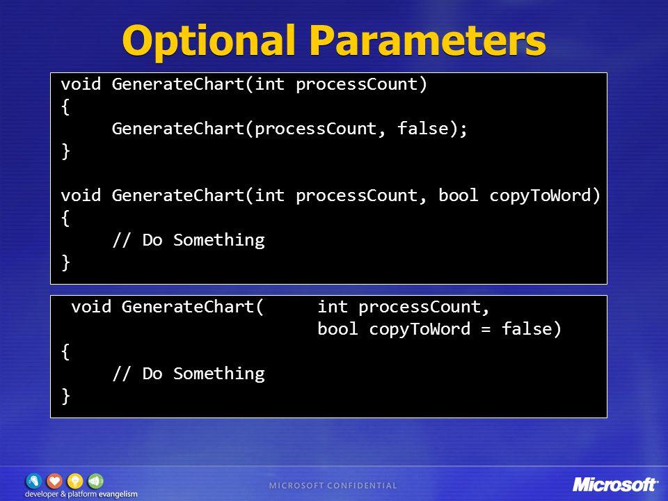Optional Parameters void GenerateChart(int processCount) { GenerateChart(processCount, false); } void GenerateChart(int processCount, bool copyToWord) { // Do Something } void GenerateChart(int processCount, bool copyToWord = false) { // Do Something }