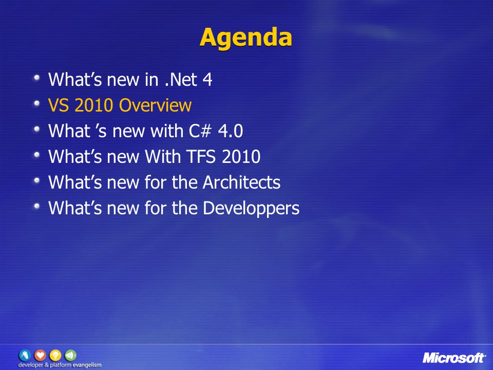 New Features in C# 4.0 & VB 10 FeatureVB10C#4 Auto-implemented Properties Collection Initializers Statement Lambdas Implicit Line ContinuationN/A Named/Optional Parameters Latebinding support (dynamic) Omit ref on COM calls Interop with Dynamic Languages Co/contravariance PIA deployment not needed New in Dev10 Already exists in VB9/C#3