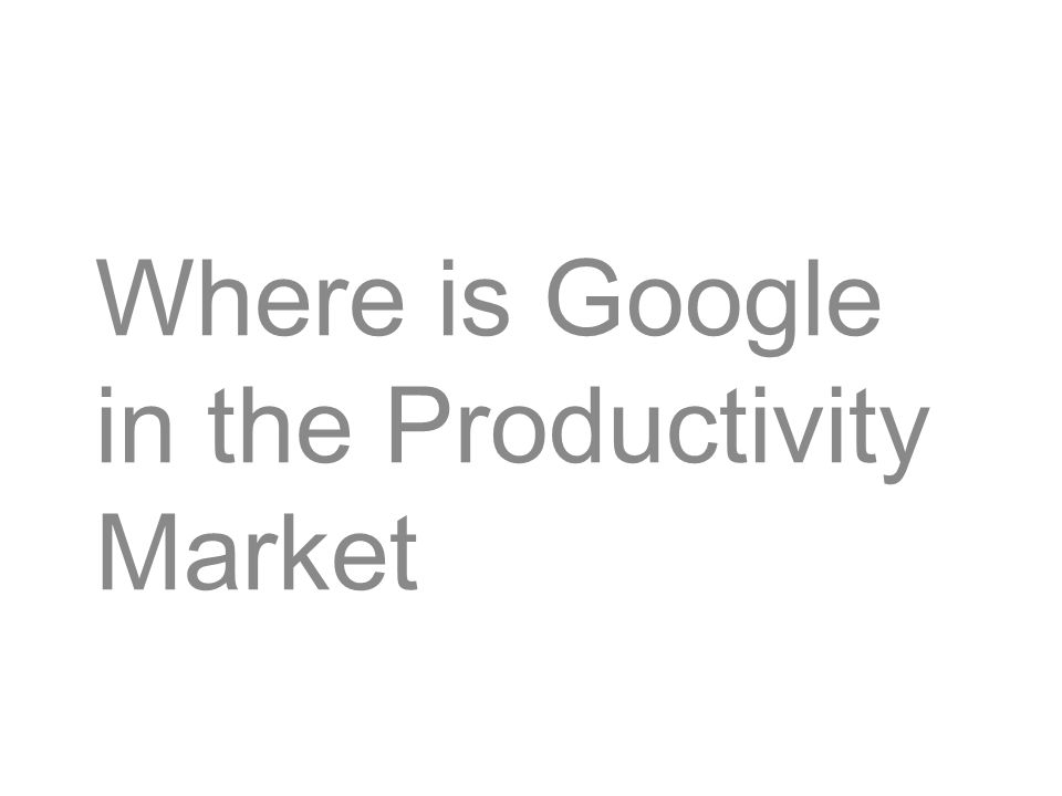 Where is Google in the Productivity Market