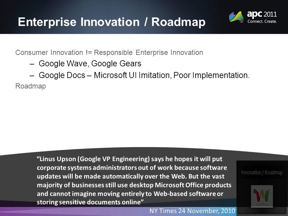 Enterprise Innovation / Roadmap Consumer Innovation != Responsible Enterprise Innovation –Google Wave, Google Gears –Google Docs – Microsoft UI Imitation, Poor Implementation.