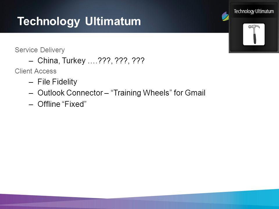 Technology Ultimatum Service Delivery –China, Turkey …. , , .