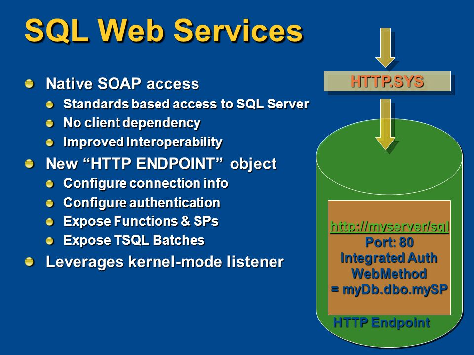 "SQL Web Services Native SOAP access Standards based access to SQL Server No client dependency Improved Interoperability New ""HTTP ENDPOINT"" object Con"